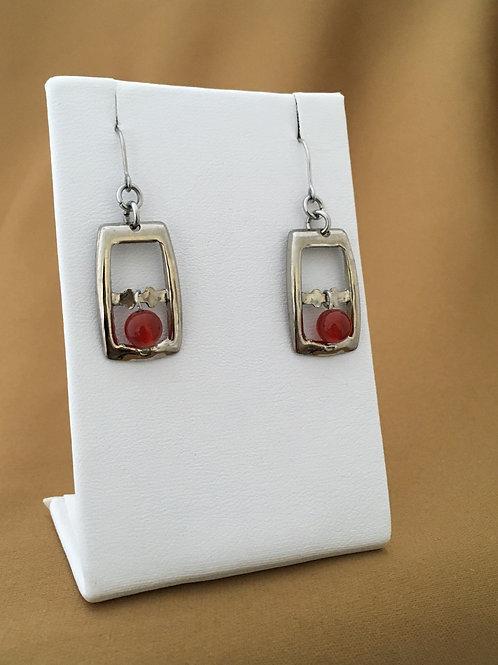 Small buckle earrings with carnelian beads