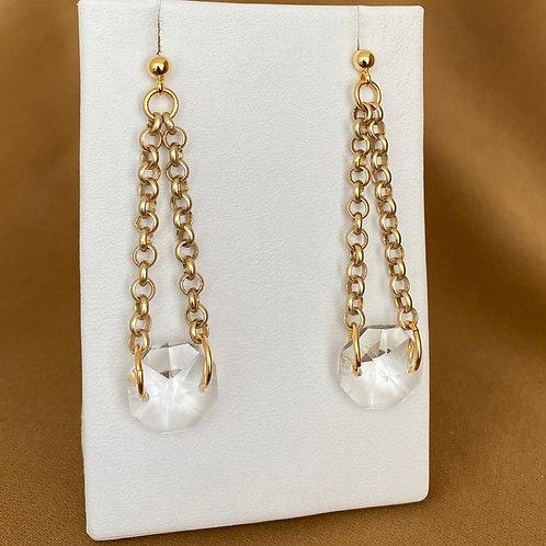 Gold chain prism drop earrings