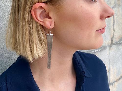 Silver mesh watch band earrings