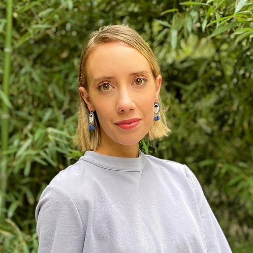 Blue watch face earrings