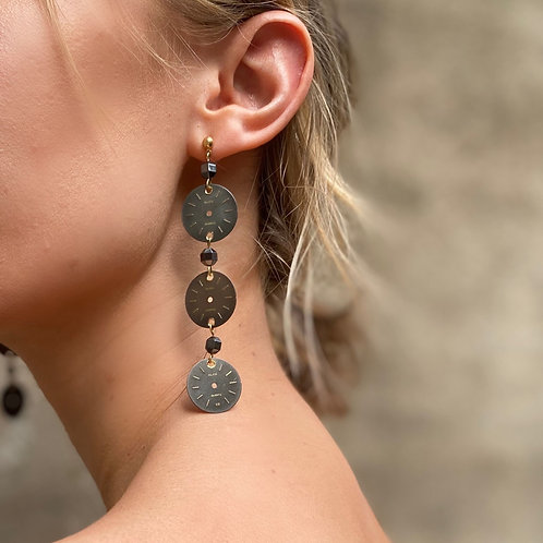 Sleek dark gray watch face earrings