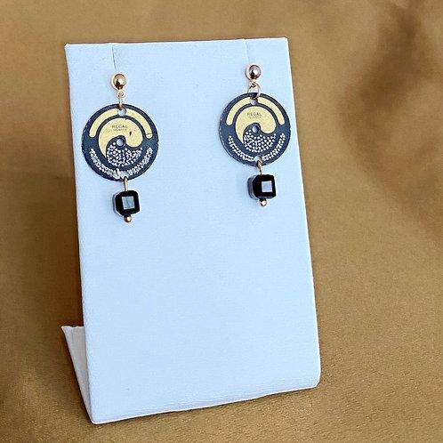 Black & Gold Watch Face Earrings