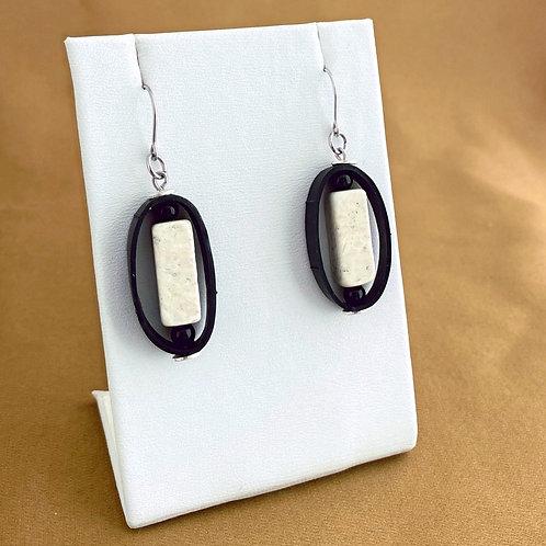 Howlite rectangle inner tube earrings