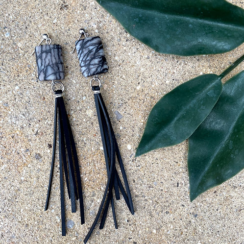 Zebra jasper fringe earrings