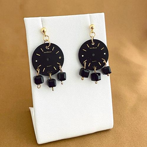Classic black watch face earrings