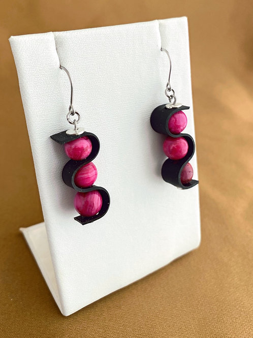 Pink crazy lace swag earrings