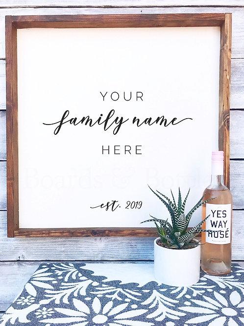 Framed Family Name Sign