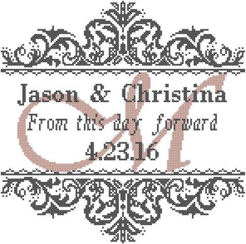Modern Wedding Cross Stitch Pattern From this Day Forward