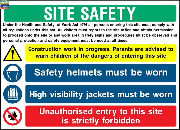 Site Safety Rules Warning Sign
