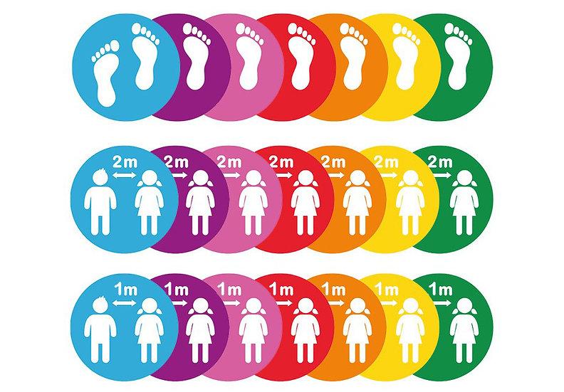 Primary School Colourful Social Distancing Floor Stickers