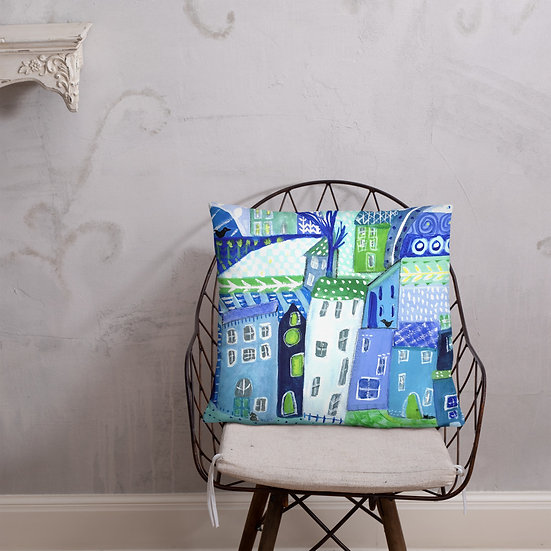 Pillow Hand Painted Whimsical Blue Village