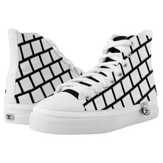 Black and White Blocks High Top Tennis Shoes