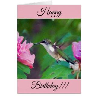Personalized Happy Birthday Hummingbird Card