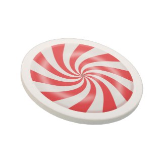 Hard Peppermint Candy Design Sandstone Drink Coaster