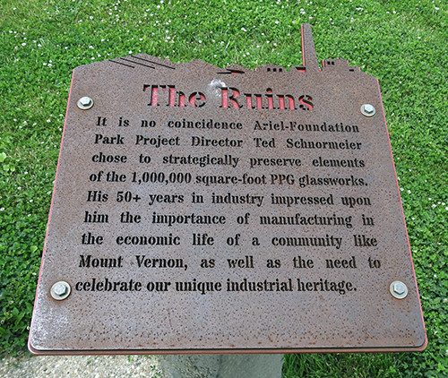 The Ruins Sign at Ariel-Foundation Park in Mount Vernon Ohio
