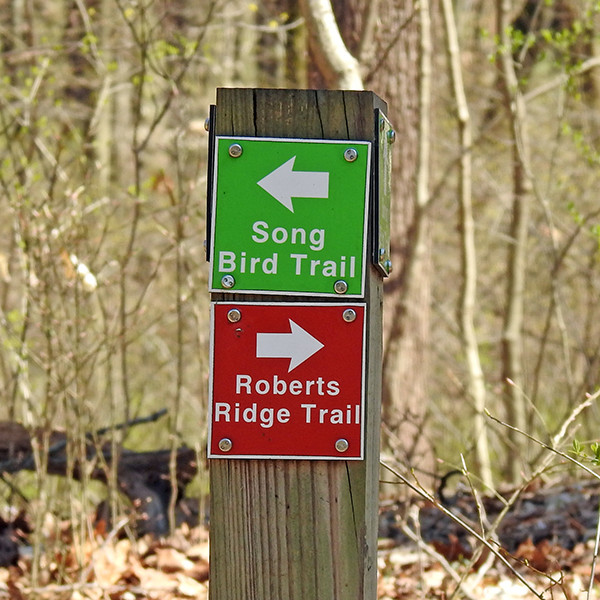 Trail markers at Spring Valley Nature Preserve in Granville Ohio