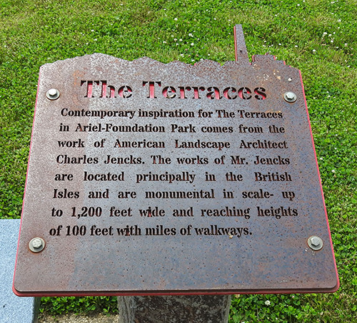 The Terraces sign at Ariel-Foundation Park in Mount Vernon Ohio