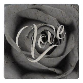 Monochromatic Rose Love Stone Trivet