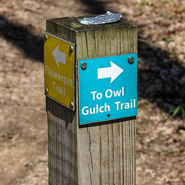 Trail markers at Spring Valley Nature Preserve located in Granville Ohio