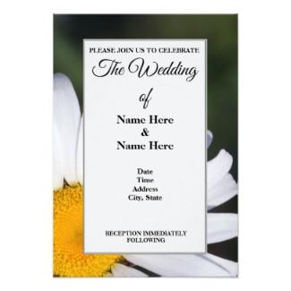Offset Daisy Wedding Invitation Card