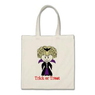 Cartoon Vampire Vampiress Trick or Treat Tote Bag