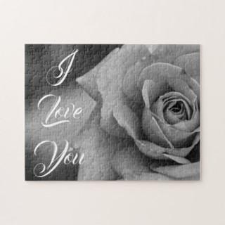 Monochromatic Rose I Love You Puzzle