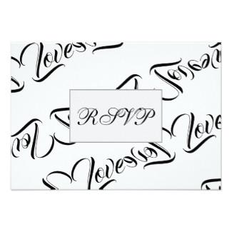 Love Patterned Design RSVP Flat Card