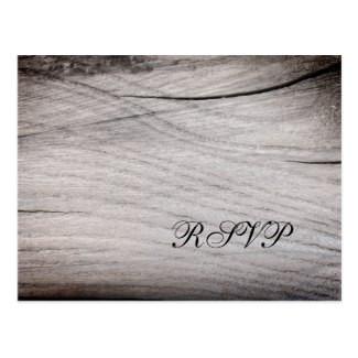 Rustic Wood Grain Design Wedding RSVP Postcard