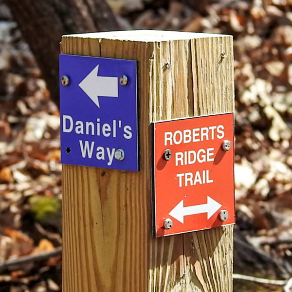 Trail markers located at Spring Valley Nature Preserve located in Granville Ohio