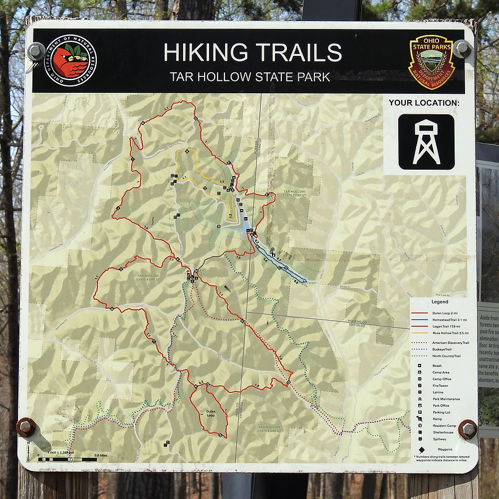 Hiking Trail Map at Tar Hollow State Park Laurelville Ohio
