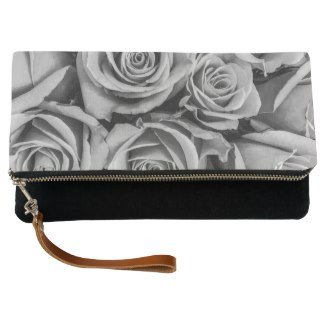 Monochromatic Roses Fold-Over Clutch