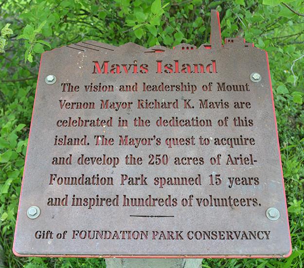 Mavis Island sign at Ariel-Foundation Park in Mount Vernon Ohio
