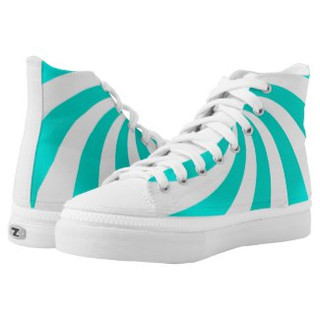 Teal Swirl Design High Top Tennis Shoes