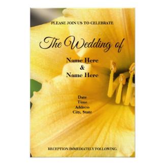 Offset Yellow Lily Flower Wedding Invitation Card