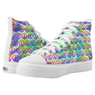 Tie Dye Peace Sign Design High Top Tennis Shoes