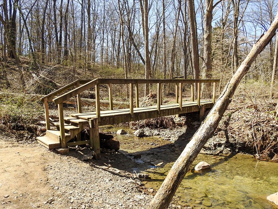 Footbridge over Salt Run Creek at Spring Valley Nature Preserve Located in Granville Ohio