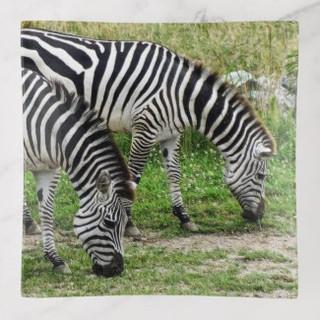 Two Zebras Glass Trinket Tray