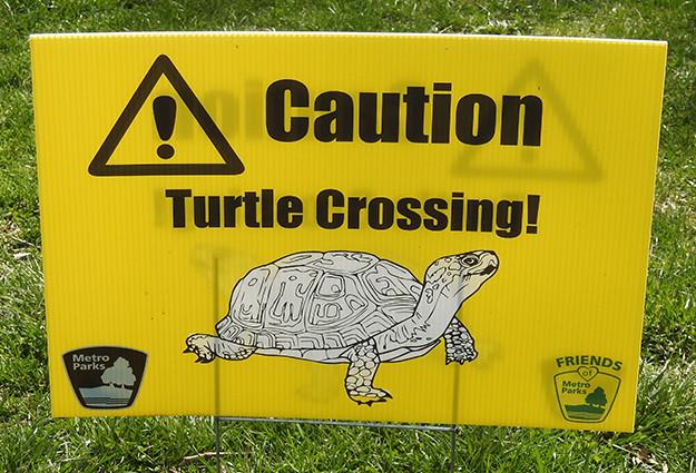 Turtle Crossing Sign at Scioto Audubon Metro Park