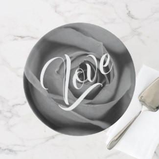 Monochromatic Love Rose Cake Stand