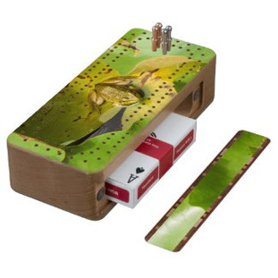 Frog on Lily Pads Cribbage Board