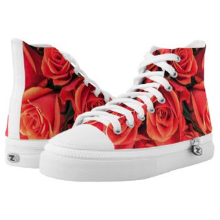 Red Roses High Top Tennis Shoes