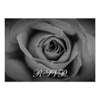 Monochromatic Rose RSVP Flat Card