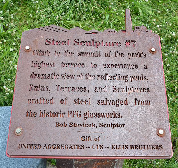 Steel Sculpture Sign at Ariel-Foundation Park in Mount Vernon Ohio