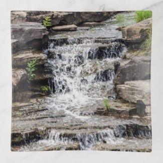 Peaceful Waterfall Glass Trinket Tray