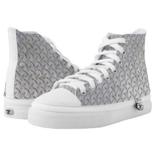 Scuffed Diamond Plate Design High Top Tennis Shoes