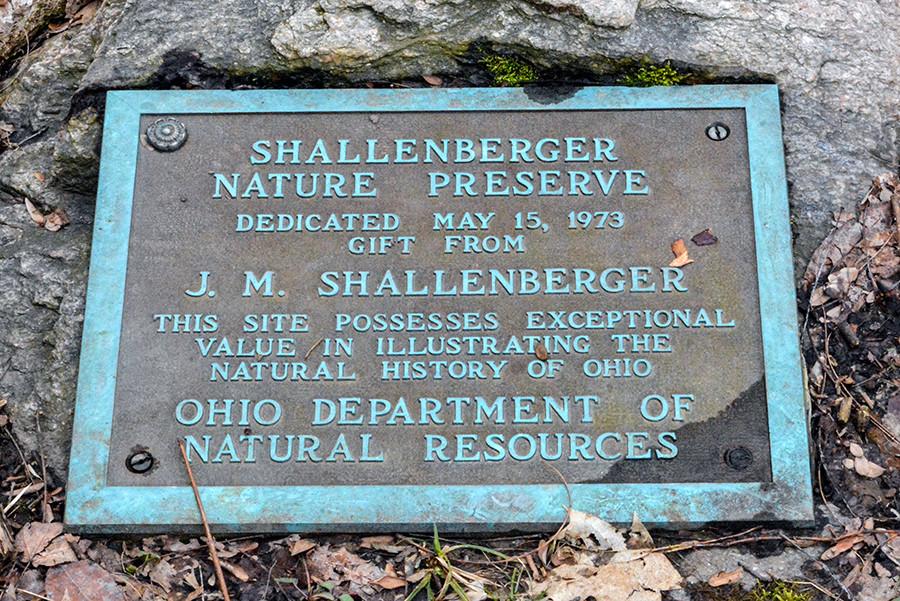 Shallenberger State Nature Preserve  Dedication Plaque