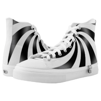 Black & White Swirl Design High Top Tennis Shoes