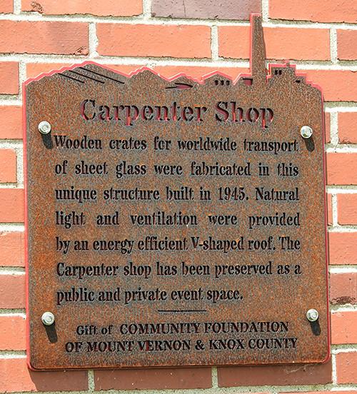 Carpenter Shop sign at Ariel-Foundation Park in Mount Vernon Ohio