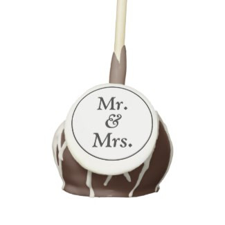 Mr & Mrs Chocolate Cake Pops with Icing & Drizzle