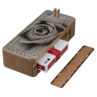Monochromatic Rose Cribbage Board